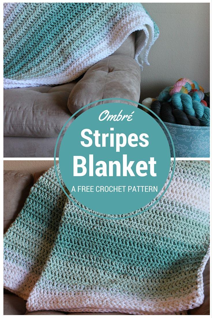 Ombre Stripes Blanket -Free Crochet Pattern Chaleur Life ...