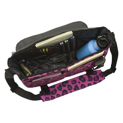 Wildkin Leopard Messenger Backpack - Pink