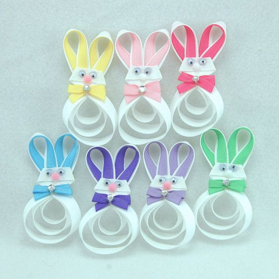 Easter Bunny Hair Bow Pick One Easter Hair Clip by KatiebugBows