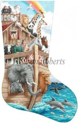 Noah's Ark Needlepoint Stocking Canvas