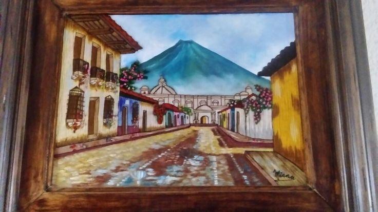 Calle de Antigua Guatemala. Bordado en lana y oleo