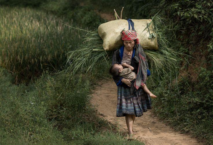 Breastfeeding - She was breastfeeding and the need to carry heavy loads.  -Street-Mu cang chai, vietnam