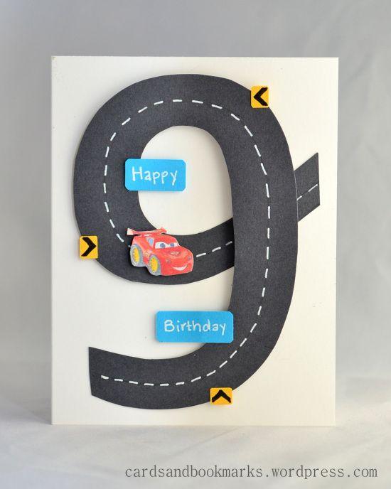 9th birthday card. Race Track Car Card. boy card.