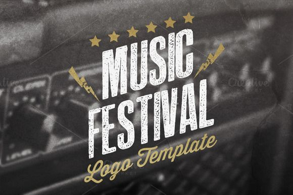 Music Festival Logo Template by Rooms Design Shop on Creative Market