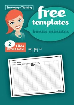 BONUS MINUTES (TO GO WITH FREE CHOICE TIME CHART)A chart to encourage children to bring specific items to school or to complete tasks. Add these bonus minutes to the Free Choice Time Chart at the end of the week.