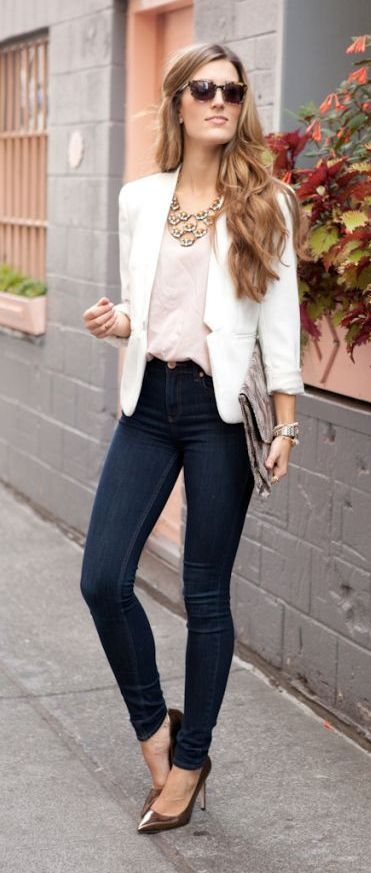 blazer and stretch jeans