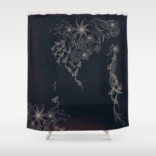 Shabby chic shower curtain, shower curtain vintage, rustic shower curtain, black bathroom decor, fabric shower curtain by Famenxt on Etsy https://www.etsy.com/listing/253070345/shabby-chic-shower-curtain-shower