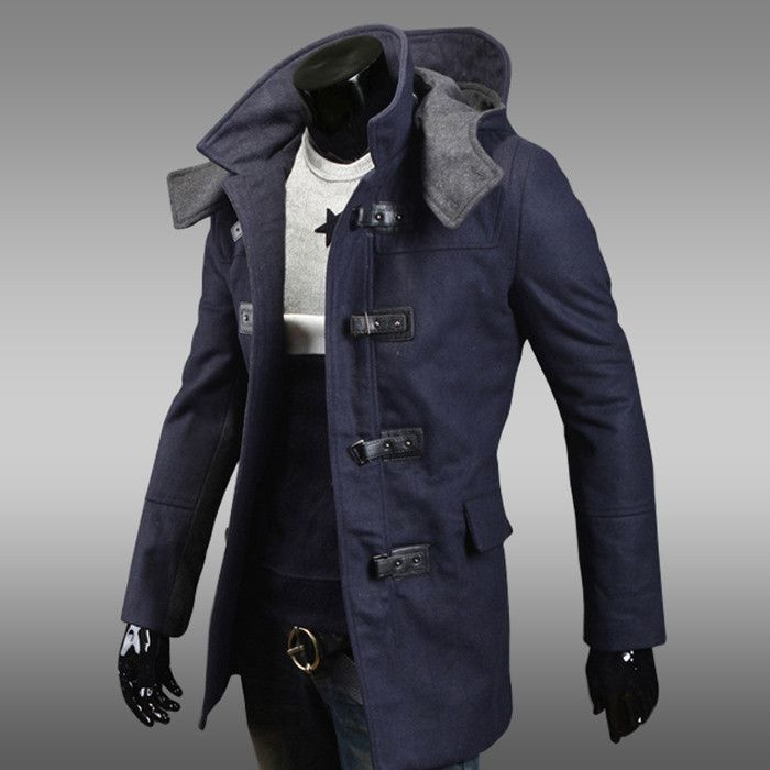 Fashion Style Solid Color Hooded Slimming Long Sleeves Polyester Coat For Men