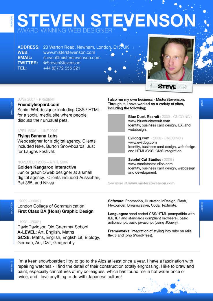 22 best resume designs   Business Cards   Pinterest
