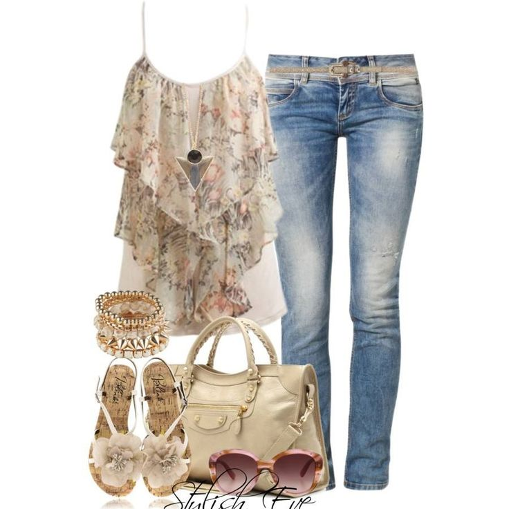 Silk floral top+jeans+nude ankle strap sandals with flower detail+nude hand bag+bracelets+sunglasses. Summer bar outfit 2016