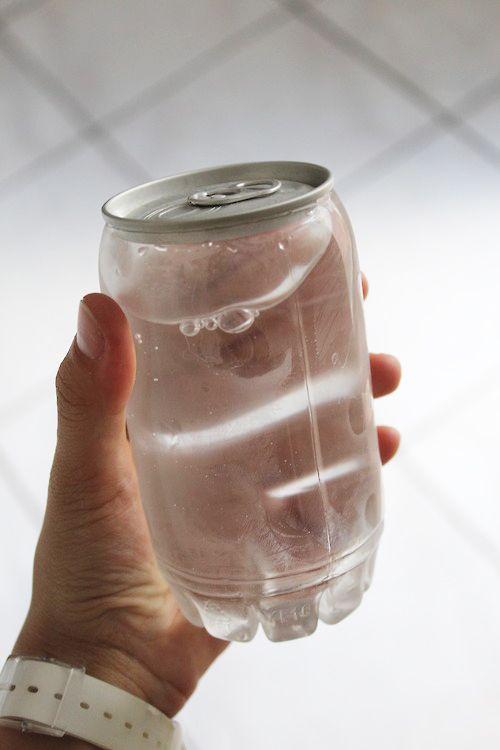 ペットボトルを切って、缶の上をつけたら新しいものができた