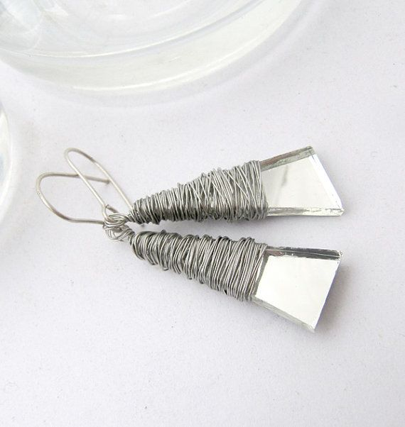 Silver Drop Dangles Recycled mirror Dangles drop by JustineJustine