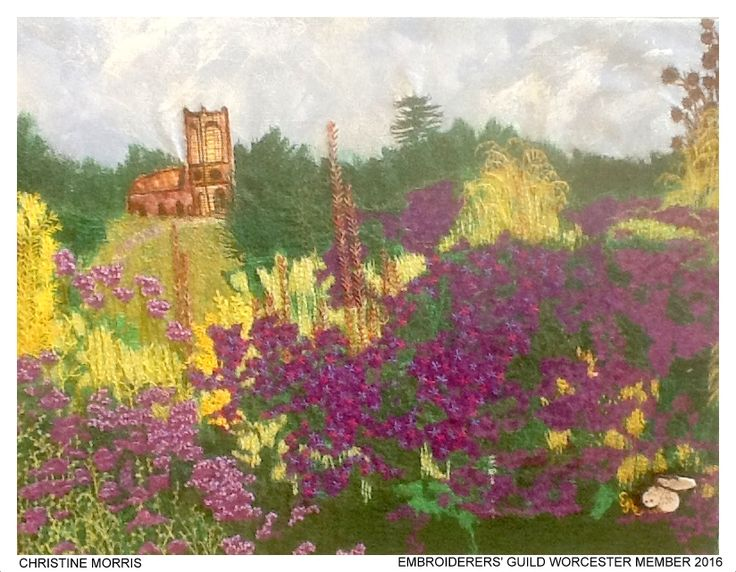 """Foxgloves"" by Christine Morris member of Embroiderers' Guild Worcester  branch. Part of the Guild exhibition at Croome Park 11 April - 30 October 2016 showing work based on Capability Brown's design and the planting at Croome. Exhibition held as part of the UK's Capability Brown Festival"