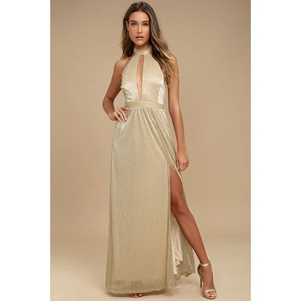 Be A Star Gold Halter Maxi Dress ($93) ❤ liked on Polyvore featuring dresses, gold, brown maxi skirt, long maxi skirts, maxi skirts, halter dress and halter maxi dress