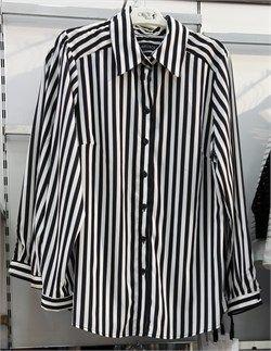 Büyük Beden Siyah Çizgili Gömlek