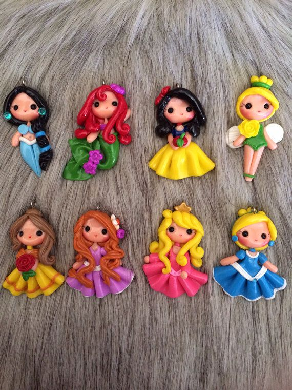 Set of original princess look clay - pendant- scrapbooking- polymer clay- princesses clay- bow embellishment