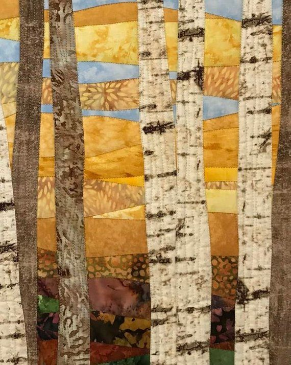 Art Quilt Birch Trees 12 In Fall Wall Hanging Wall Quilt Landscape Quilts Art Quilts Birch Tree Art