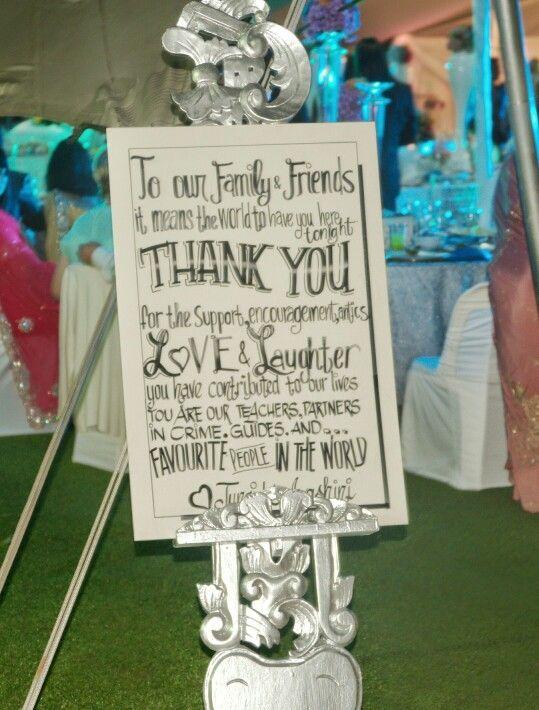 Thank you board. Wedding signs