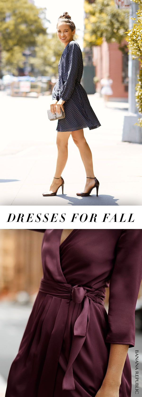 How to sport a dress on fall's chillier days: go long sleeved! These one-piece wonders feature flowy fabrics with feminine details like ruffles and bows in deep, rich colors for fall. Wear them with flats, heels or booties for everyday style. | Banana Republic