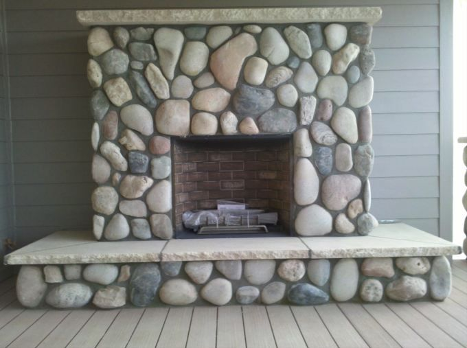 river stone fireplaces | River Rock