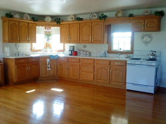 Beautiful Amish kitchen.  Floors so clean and shiny you could eat off of them!