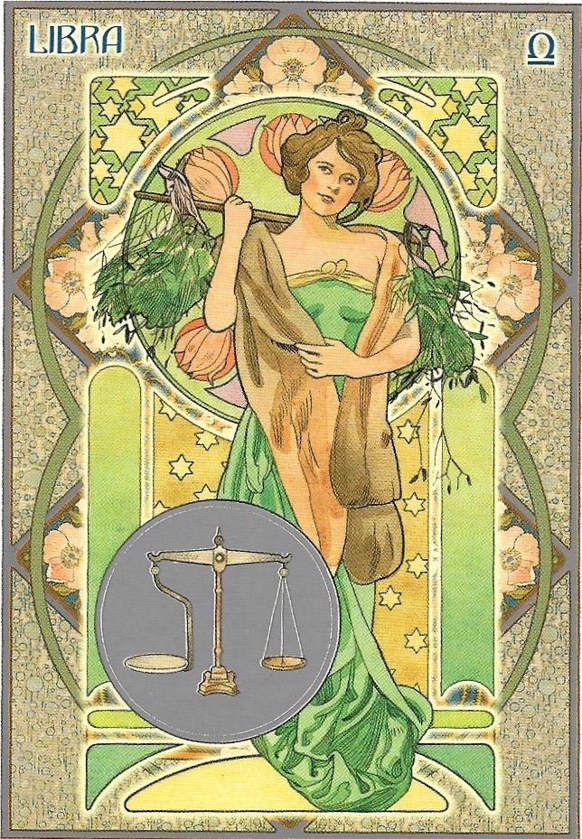 paper signe astrologique balance libra by alfred mucha raindrops on roses and whiskers on. Black Bedroom Furniture Sets. Home Design Ideas