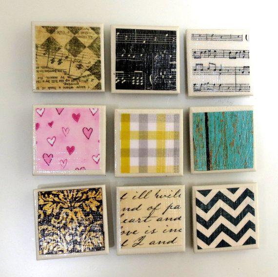 Small Tile Magnet Set Refrigerator Magnets Handmade Art Glass Magnets Ceramic Housewares