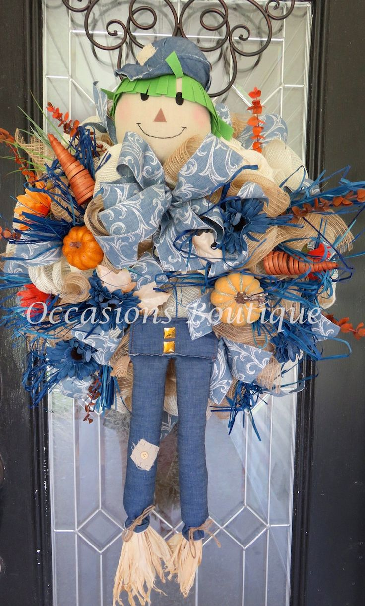 Fall Wreath, Burlap Wreath, Front door wreath, Fall Door Hanger, Autumn Wreath, Fall decor, XL Wreath, Scarecrow wreath, Ready to Ship by OccasionsBoutique on Etsy