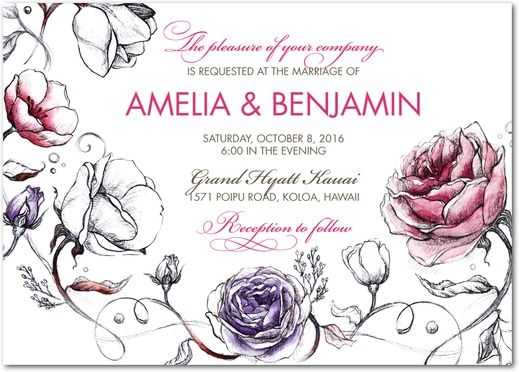 Illustrated Love - Signature White Textured Wedding Invitations - East Six Design - Begonia - Pink : Front