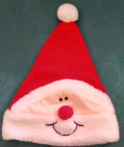 Bonnet-Pere-Noel-polaire-rouge-fourrure-et-pompon-blancs-deguisement-unisexe-TBE