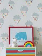 Before a Rainbow (Bianco crema, Giallo, Grigio chiaro , Arancio, Rosso, Turchese) | Carta da parati per bambini | Motivi di carta da parati | Carta da parati degli anni 70