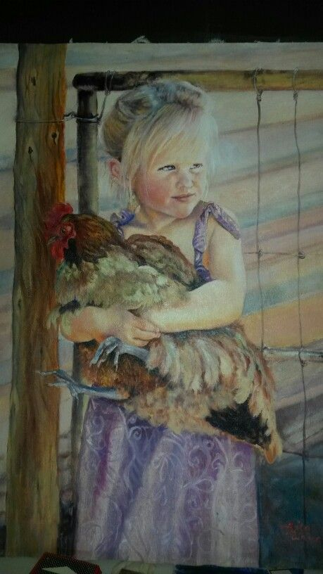 Beautiful painting of girl and chicken by Rita Weber