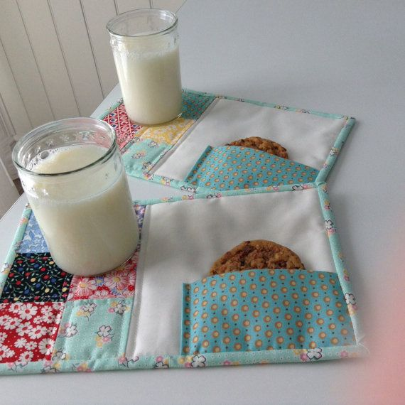 30's Reproduction Quilted Mug Rugs Set Of 2 by thePATchworksshop