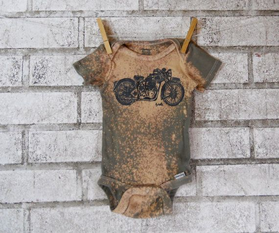 Motorcycle Baby Onesie cotton baby bodysuit dyed by CausticThreads, $18.00
