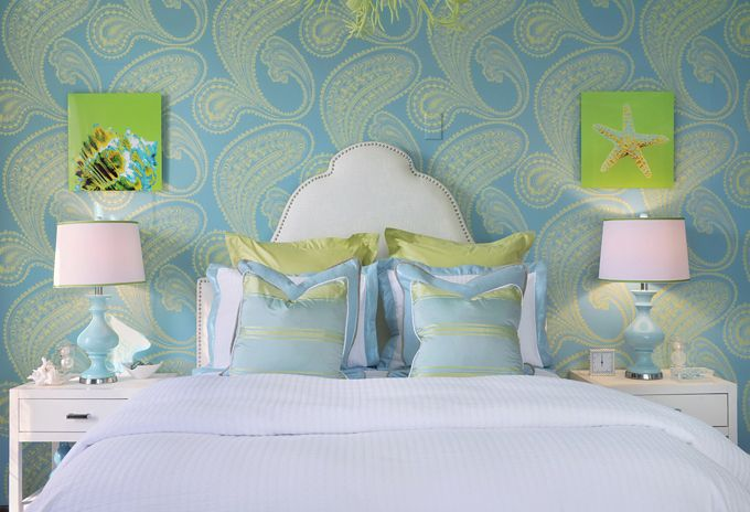 love this color combo..especially like the wallpaper.