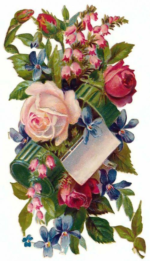 Ретро открытка с цветами, ткани