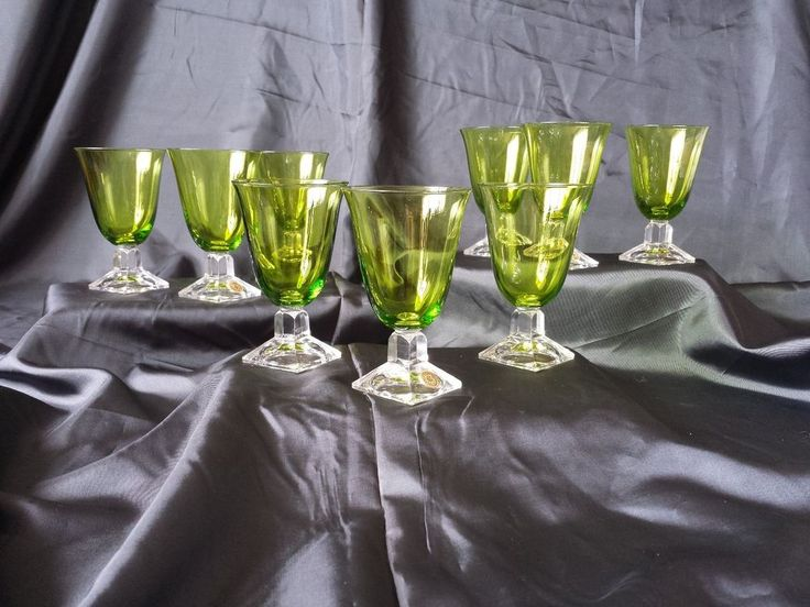 9  Val St Lambert emerald green crystal cordial wine water port sherry glasses