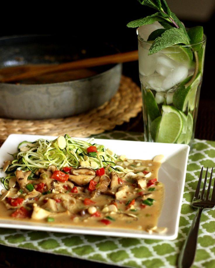 Shiitake Coconut-Peanut Sauce with Zucchini Spirals  vegan, gluten-free, grain-free, dairy-free