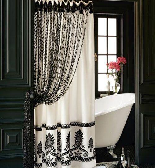 Bathroom with curtains of beadsBathroom Design, Bathroom Curtains, Black And White, Black White, Beads Curtains, Bath Accessories, White Bathroom, Bathroom Shower, Shower Curtains
