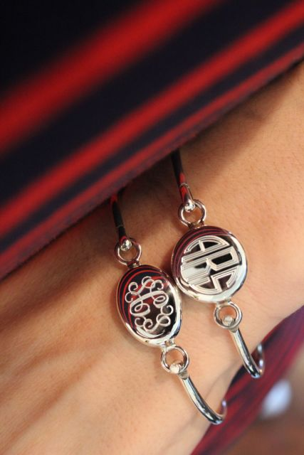 Sterling Silver Monogrammed Latch Bracelets from Swell Caroline - Preppy & Polished!...love the script one!!