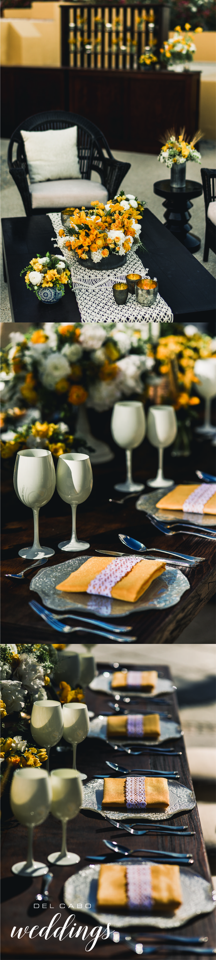 Natural and timeless wedding decorations! Del Cabo Weddings will help you plan your rustic destination wedding at Cabo!