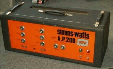 1973 Simms-Watts A.P.200((POW!))) Two bridgeable channels w/ Treble, Mid, Bass &  Master Vol.+Presence. Ultra-Linear Power w/four KT88 & huge Partridge OP Transformer. Three 12AX7 in Pre-section w/SS Rectifier. Both MICK RONSON & PINK FAIRIES used Simms-Watts live in 1973-'74. Huge Warm Cleans at High Volume, w/Super British almost VOX Grit w/gain is dimed.