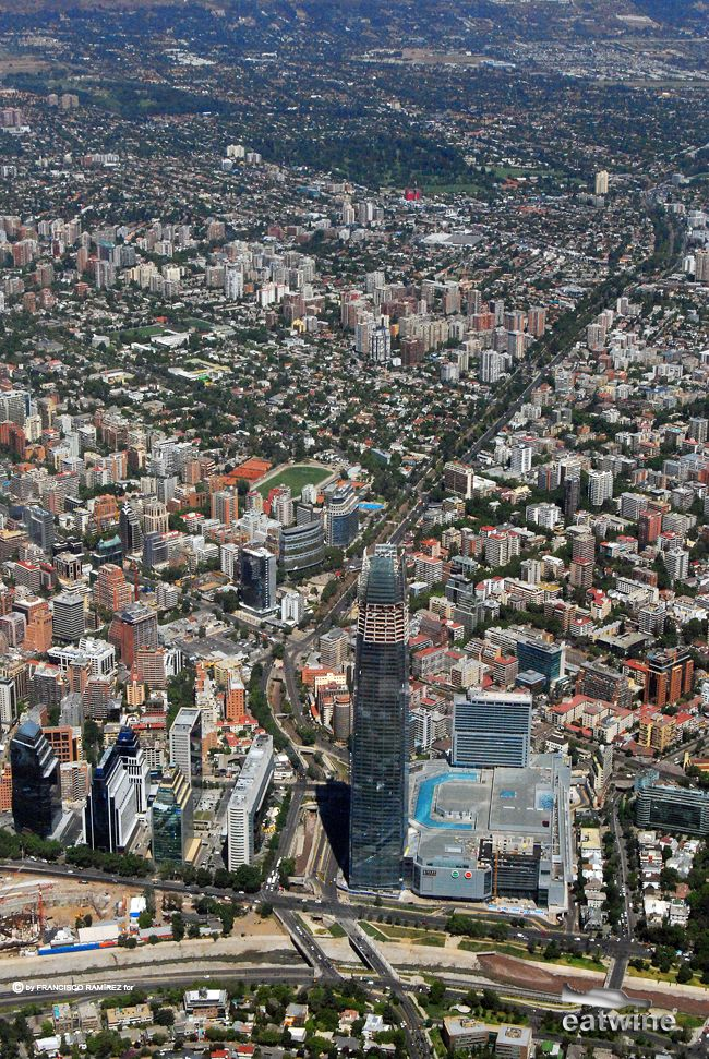Birds eye view of Santiago, Chile