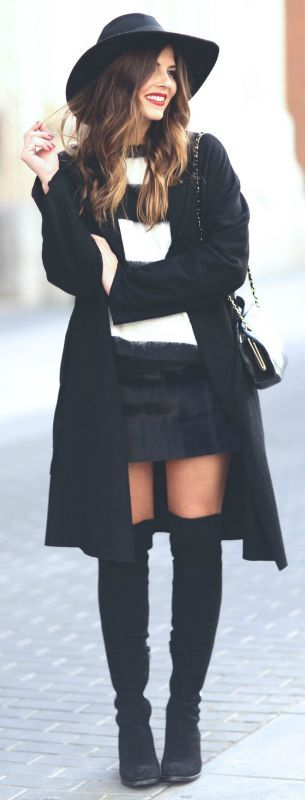 Thigh high boots + skirt + Natalia Cabezas + boots + adorable mini skirt + Zara + stylish sweater + loose-fitting overcoat + high boots style Sweater: Mango, Skirt: Zara, Coat: Oak&Fork, Boots: Unisa.... | Style Inspiration