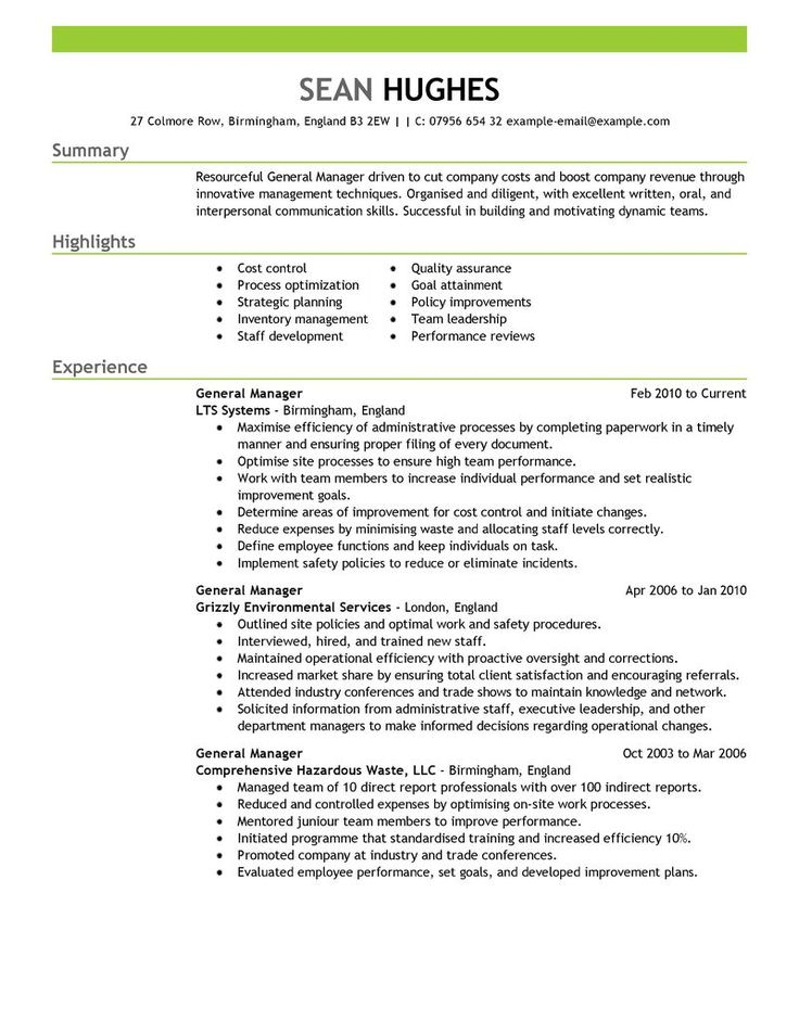 41 best Resume Templates images on Pinterest Free stencils - restaurant general manager resume