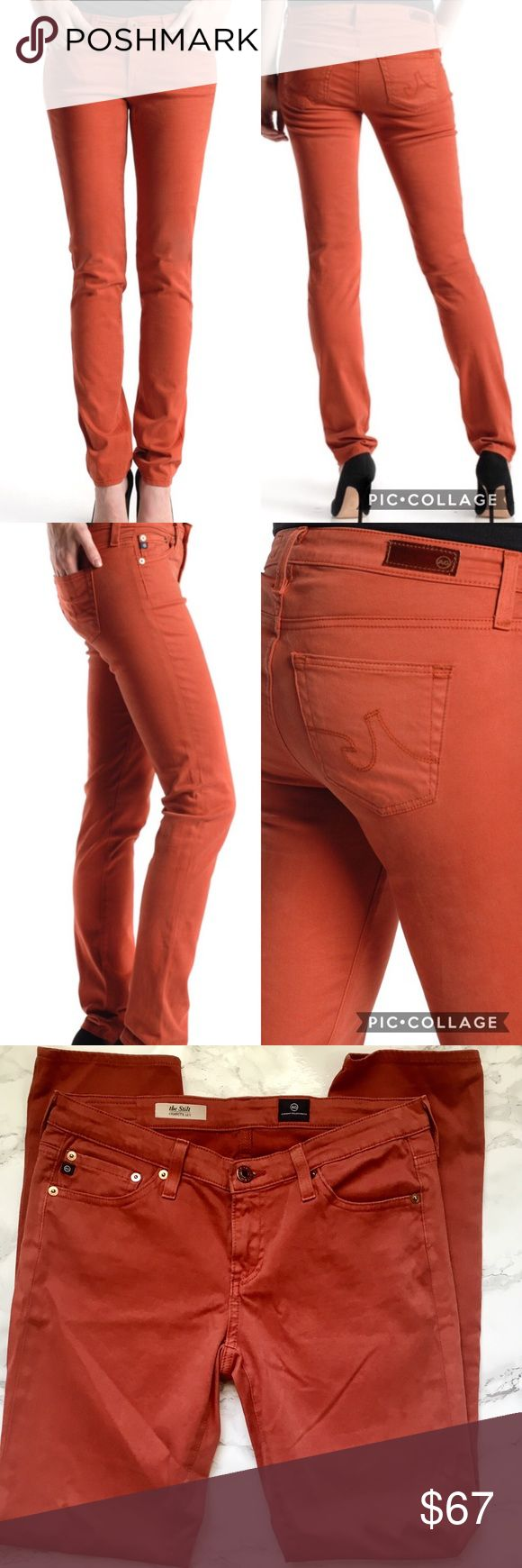 AG The Stilt Cigarette Jean in Rust Color EUC size 28 AG Adriano Goldschmied the Stilit Cigarette Jean in Rust color. No flaws! Super comfortable! Please feel free to ask any questions before purchasing. I am happy to provide measurements/photos upon request! 😊  ❣️Open to Offers unless Final Price ❣️No Trades or Holds ❣️Smoke Free Home ❣️Bundle Discounts! 15% off 2+ items Anthropologie Jeans Skinny