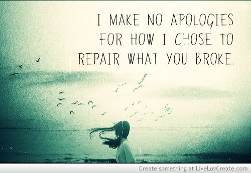 I make no apologies for how I chose to repair what you broke.