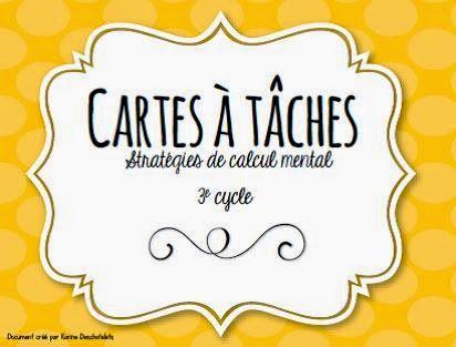 Cartes à tâches - Stratégies de calcul mental www.laclassedekarine.blogspot.ca