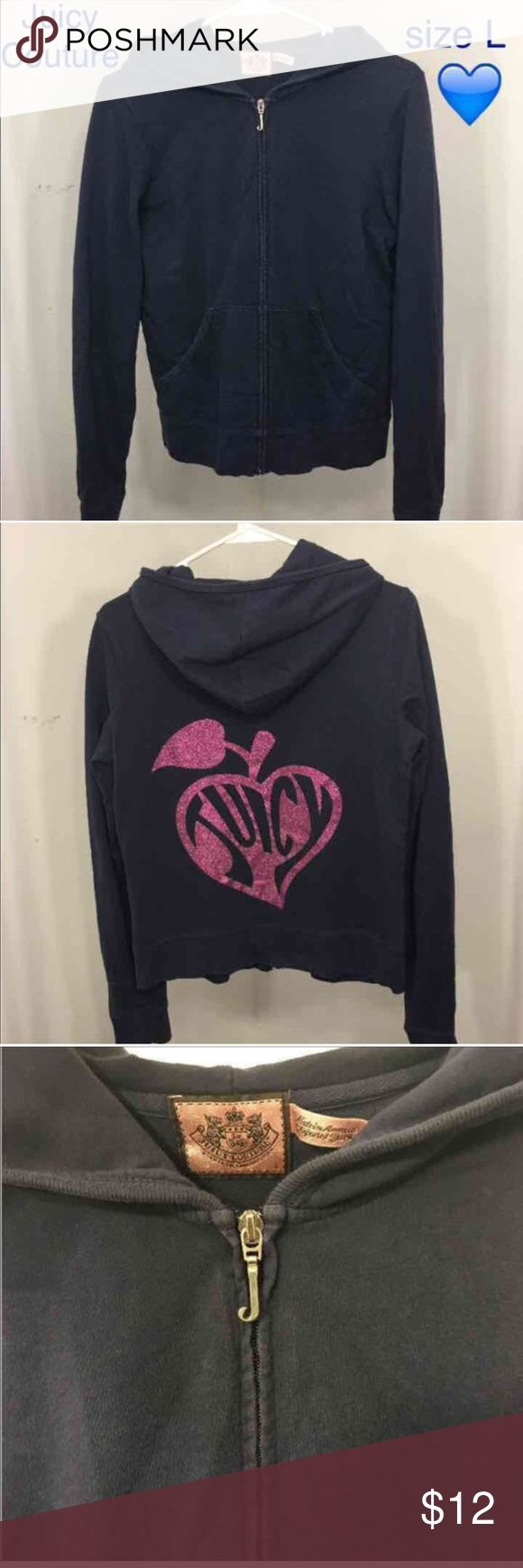 Juicy Couture Navy Zip up jacket-size large Gently worn, excellent condition, pink detailing on the back Juicy Couture Jackets & Coats