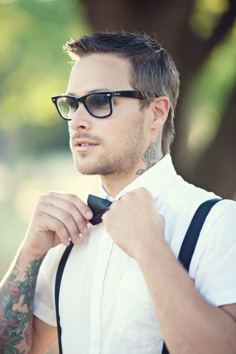 super cute the tattoos w/clean cut suspenders and bowtie...well and the specs...: Style, Men S Fashion, Bow Ties, Guy, Mens Fashion, Tattoos, Bowties, Boy
